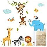 Little Deco Wandaufkleber Kinderzimmer Deko Jungen Dschungeltiere I 2 A4 Bögen I Wandtattoo Wandsticker Babyzimmer Elefant Tiere Dschungel Affen DL214-3