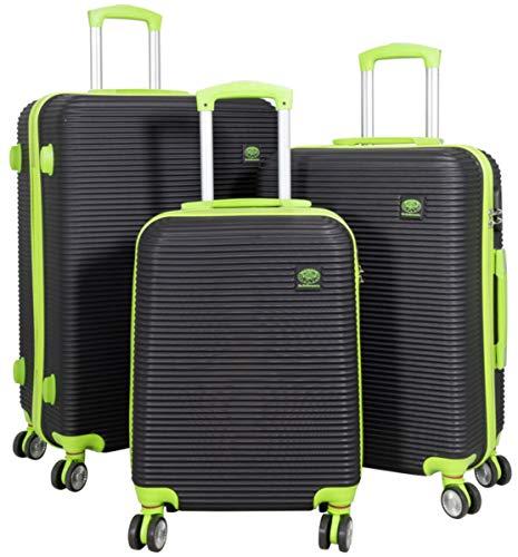 3tlg. Hartschalen ABS Kofferset Trolley Reisekoffer Set Reisetrolley Handgepäck Boardcase Santorin (Farbe Schwarz-Grün)