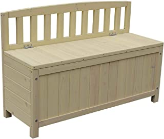 Festnight Outdoor Storage Bench Fir Wood Garden Deck Box with Backrest Courtyard Storage Container for Toys Yard Tools Patio Backyard Poolside Balcony Furniture 35 x 26.7 x 12.6 Inches (L x W x H)