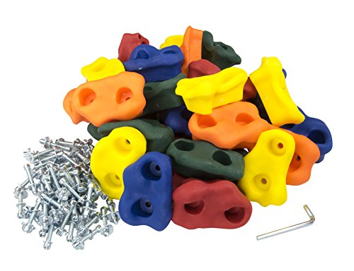 """Squirrel Products 30 Large Kids Rock Climbing Holds - with Mounting Hardware for up to 1"""" Installation"""