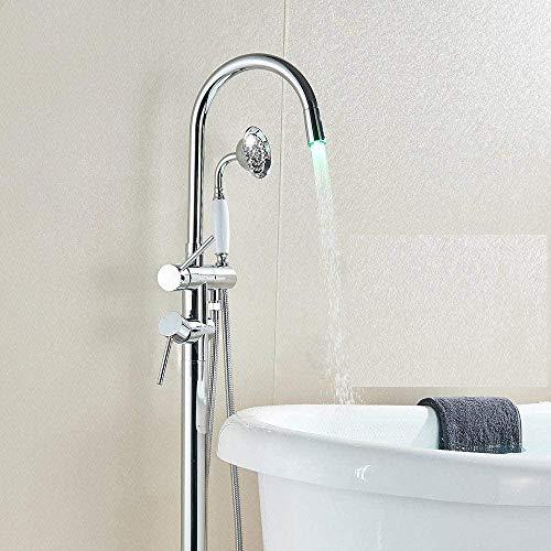 Grifo de bañera LED Grifo de bañera Baño con patas de garra Grifo de ducha de baño Grifo mezclador Caño giratorio Grifo montado en el piso Grúa Negro Bronce Cromo