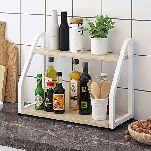 Kruidenrek, 2-laags Eenvoudig te installeren kruidenrekken voor in de kast Stapplank Kast Organizer voor keuken (Color : White)