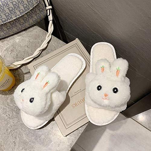 ypyrhh Home rutschfest Pantoffeln für,EIN-Wort-Hausschuhe aus Baumwolle,Cartoon süßes Paar Baumwollschuhe-Weiß 1_39,Plüsch Memory Foam rutschfeste Indoor Pantoffel