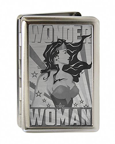 Business Card Holder Wonder Woman Pose Stars Rays Brushed Silver Large