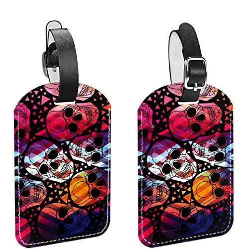 2 paquetes de etiquetas flexibles para equipaje de viaje para bolsas de equipaje, maletas, bolsas escolares, etiquetas de identificación de nombre para viajes, gótico punk, cabeza de calavera