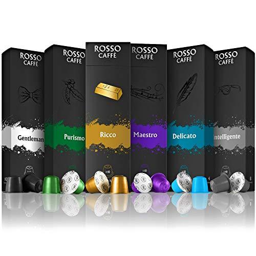 Rosso Coffee Capsules for Nespresso Original Machine - 60 Gourmet Espresso Pods Variety Pack, Compatible with Nespresso Original Line Machines