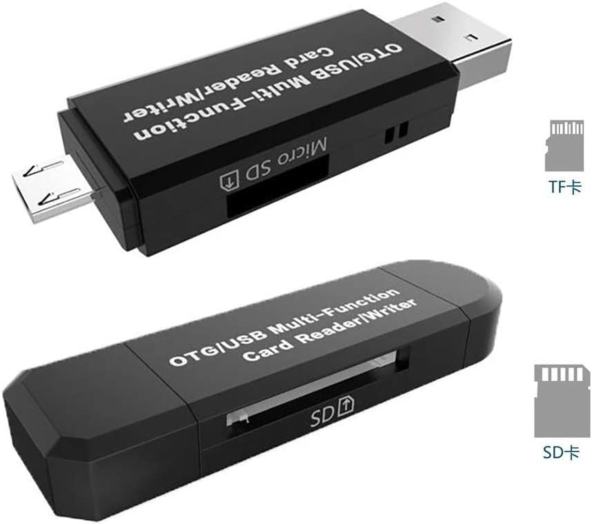CLWHJ SD Card Reader/SD Card Adapter SD/Micro SD Card Reader/Micro OTG/USB 2.0 Multi-Function Card Reader/Writer for PC & Laptop & Smart Phones & Tablets-Black