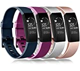 Amzpas Compatible para Fitbit Inspire Correa & Inspire HR Correa, Soft Deportes Pulseras Reemplazo Band Compatible para Fitbit Inspire & Fitbit Inspire HR (0004 Rose Gold+Silver+Navy Blue+Purple, S)