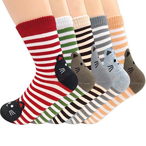 Damen Socken Mädchen Bunte Baumwolle Socken Frauen Warme Wintersocken Kuschelsocken Weihnachten Weiche Tier-Cartoon-Socken für Winter Herbst, 5 Paar