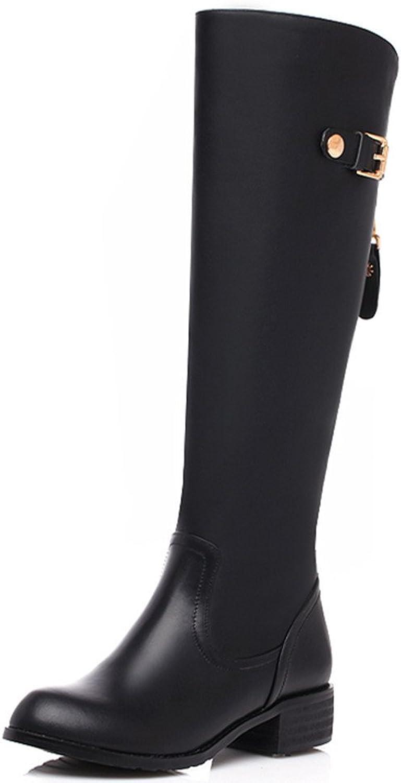 Nio Sju äkta läder Kvinnlig springaaada tå Chunky Heel Heel Heel Handgjord Knee High Boot  det lägsta priset