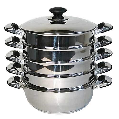 HHS Mantowarka - Set di pentole impilabili in acciaio inox con cestello per cottura a vapore, fondo a induzione, diametro 30 cm