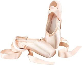ESupport Ballet Pointe Shoes Adults Womens Girls Ballet Dance Toe Shoes with Ribbon