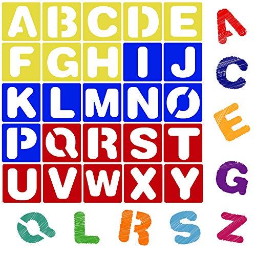 Karty Alphabet Letter Stencil Set for Kids and Adults - Painting, Lettering and Drawing Templates - Large Plastic ABC Stencils for Protest Posters, Arts and Crafts Projects - 6 Inch