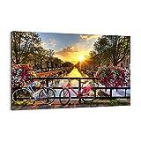 Cuadro sobre lienzo - Impresión de Imagen - Bicicletas canal Amsterdam arquitectura - Imagen Impresión - Cuadros Decoracion - Impresión en lienzo - Cuadros Modernos - Lienzo Decorativo - (AB) 3081