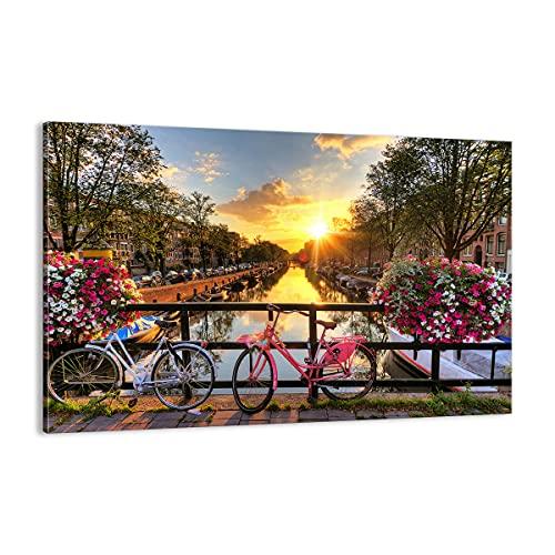Quadro su tela - Elemento unico - Biciclette Canale Amsterdam l'architettura - 120x80cm - Pronto da appendere - Stampe su Tela - Quadri Moderni - completamente incorniciato - AA120x80-3081
