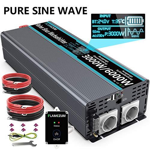 3000W Spannungswandler 24V auf 230V Reiner Sinus Wechselrichter Konverter mit 2 EU Steckdose und 2 USB Port - LED Anzeige und Fernsteuerung