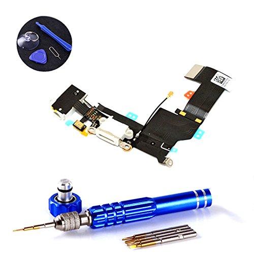 PPdigi Dock Connector für iPhone SE USB Ladebuchse Audio buchse Mikrofon mit Werkzeugset (Passen iPhone SE, Gold/Roségold/Silber)