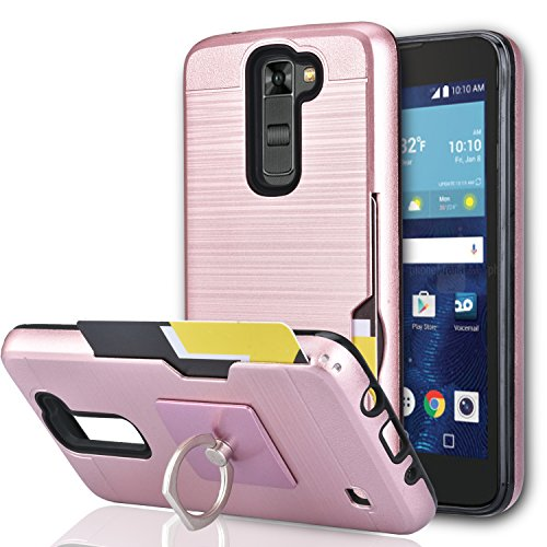 LG Tribute 5 Case, LG K7/ LG Escape 3/ LG Treasure/LG Phoenix 2 Case with Phone Stand,Ymhxcy [Credit Card Slots Holder][Brushed Texture] Dual Layer Shockproof Protective Cover for LG K7-LCK Rose Gold