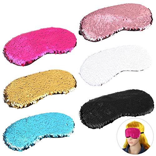 MWOOT Damen Schlafmaske [6er Set], Übernachtungsparty Maske zum Schlafen, Augenmaske mit Pailletten