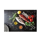 Lienzo de arte, verduras, pescado, cocina, tema, pintura, carteles e impresiones, imagen artística de pared moderna, decoración para sala de estar, sin marco