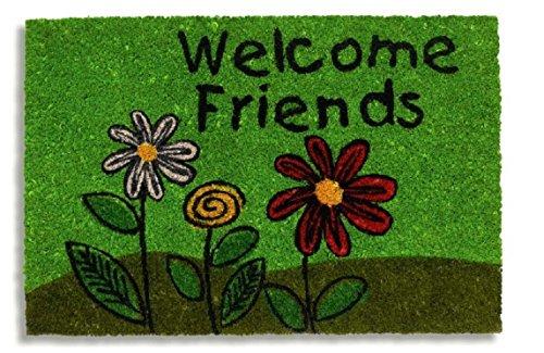 """Schmutzfangmatte / Fußmatte / Fussmatte / Fußabstreifer / Fußabtreter / Kokos / Kokosmatte / Schmutzmatte Modell ,, Welcome Friends """" Blumen - grün - Größe : 40 x 60 cm"""