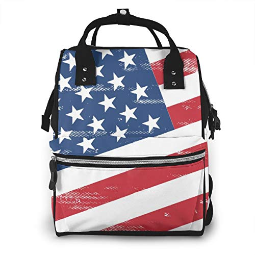 Retro American Flag Baby Diaper Bag Backpack,Multi-Function Waterproof Large Capacity Travel Nappy Bags For Mom