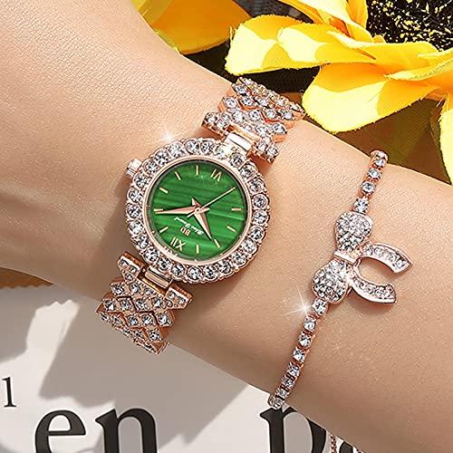 WWANG Reloj Dorado Helado de 42 mm para Mujer con Cristales y eslabones redimensionables, Movimiento de Cuarzo, pequeña Mesa Verde
