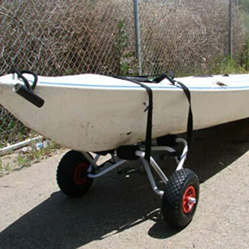 Moliies Remolque de Kayak de Aluminio Soporte de Kayak de Aluminio Remolque Plegable portátil Rueda Inflable Carro de Kayak+Negro