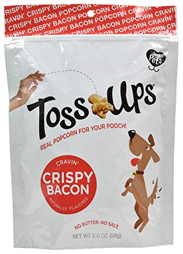 Toss Ups Real Popcorn for Your Pooch 2.0 oz Crispy Bacon, Healthy Dog Treats, All Natural, Non-GMO and Gluten Free, Popped in Coconut Oil, No Butter, No Salt. (4-2.0 oz Bags Included)