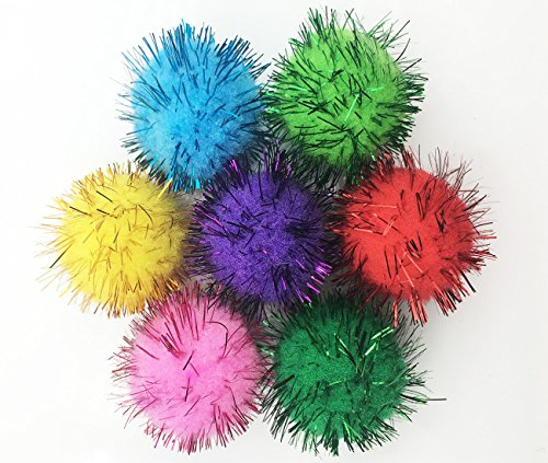VAPKER 30 Piece Assorted Color Sparkle Balls Cat's Favorite Toy Tinsel Pom Poms...