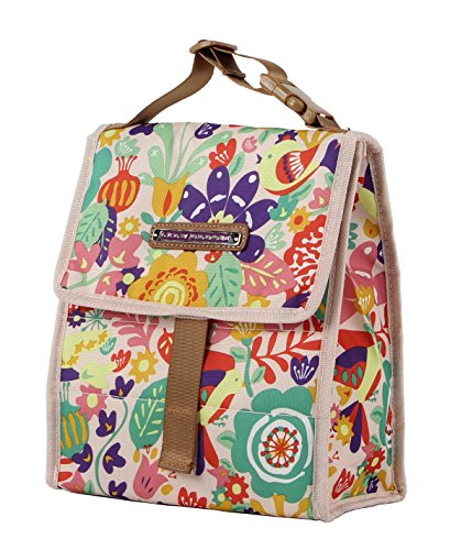 Lily Bloom Foldover Women's Lunch Box (Tulips and Tweets)