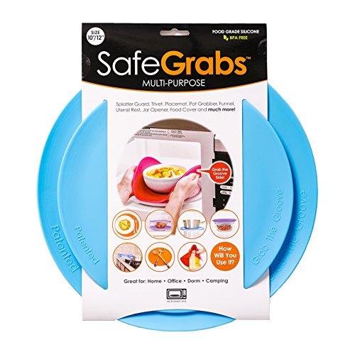Safe Grabs: Multi-Purpose Silicone Original Microwave Mat from Shark Tank | Splatter Guard, Trivet, Hot Pad, Pot Holder, Kitchen Tool (BPA-Free, Heat Resistant, Dishwasher Safe), Ocean Blue