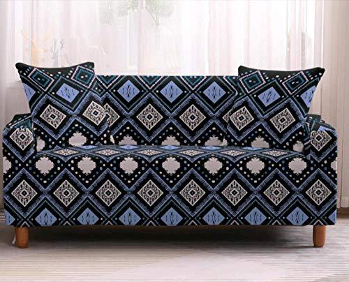 Funda Elástica de Sofá de 3 Plazas Patrón de Cuadros Azul Funda sofá (Regalar 2 Funda de Cojines) Funda para Sofá Funda de sofá de Sillón Antideslizante Protector Cubierta de Muebles