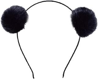 MaiYi Girl's Furry Headband Pompom Ball Ear Hair Hoop Bath Spa Make Up Hairband Halloween Christmas Party Birthday Headwear Cosplay Costume