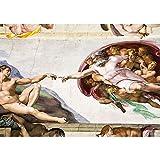 Vlies Fototapete PREMIUM PLUS Wand Foto Tapete Wand Bild Vliestapete - Kunst Gemälde Erschaffung Adams Michelangelo - no. 2082, Größe:368x254cm Vlies