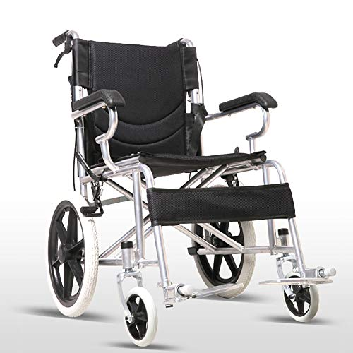 WANGXN rijdende rolstoel opvouwbare carbon staal rolstoel lichte, draagbare Transit Travel Chair, zwart
