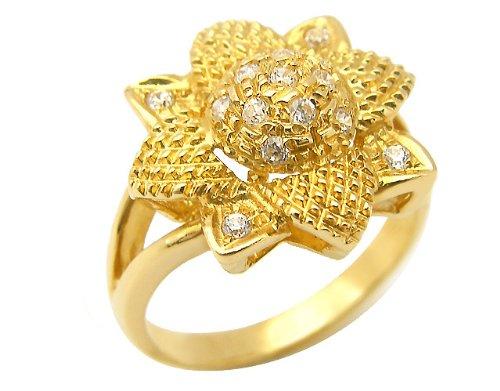 Anello in oro giallo 18kt con zirconi