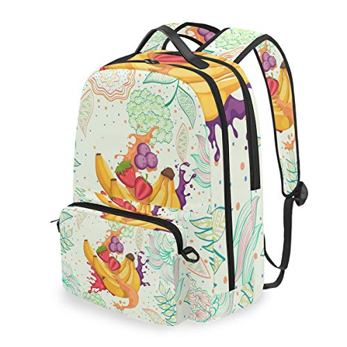 Blumenfrucht-Bananensaft Studentenrucksack Kinderrucksack Büchertasche Schülerrucksack Laptop mit Umhängetasche für die Mädchen Jungs