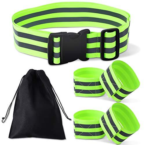 Herefun 5 Stück Reflektorbänder, Leucht Armband, Einstellbare und Elastische Reflexband für Handgelenk Arm Knöchel Bein, Reflektierende Sicherheits Armband für Laufen Wandern