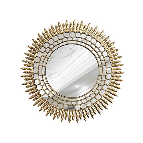 YZH Full-length mirror Vintage Round Decorative Wall Mirror,3D Sunburst Large Ornate Shabby Chic Round Wall Mirror for Living Room, Bedroom, Hall, Hallway