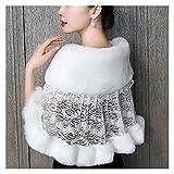 hongruida Mujeres Invierno vestido de boda bufanda estolas caliente chal abrigo mullido felpa empalme nupcial bolero ganchillo floral encaje fiesta cubierta
