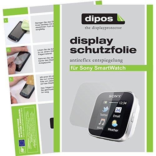dipos I 2X Schutzfolie matt kompatibel mit Sony SmartWatch Folie Bildschirmschutzfolie