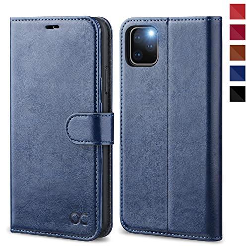 OCASE iPhone 11 Pro MAX Hülle Handyhülle [Premium Leder] [Standfunktion] [Kartenfach] [Magnetverschluss] Tasche Flip Hülle Etui Schutzhülle Leder für iPhone 11 Pro MAX Cover Blau