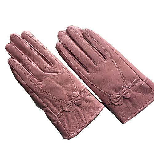 Gants En Cuir Femme Chaude Et Froide Voiture Épaisse Bowknot Gants En Cuir Spécial Style En Plein Air Plaine Mitaines (Color : Red1, Size : L)