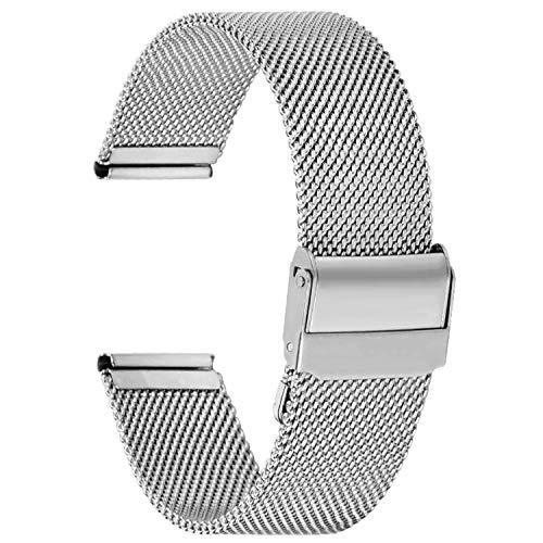 Fullmosa ML Serie 20mm Uhrenarmband, Edelstahl Mesh Loop Ersatzband für Watch, 20mm Silber