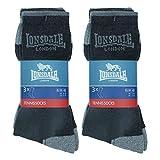 Lonsdale 6 Paar Tennis Socken, ausgezeichnete Baumwollqualität (Schwarz, Mittelgrau, Melangegrau, 43-46)