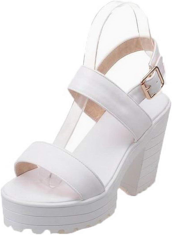 AmoonyFashion Women's Solid Pu High-Heels Buckle Open-Toe Sandals, BUTLT007902