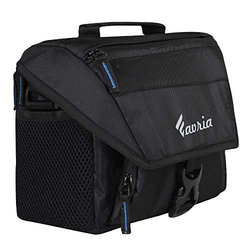 Favria Water Resistant Camera Bag, DSLR Camera Shoulder Bag, Outdoor Travel Camera Bag Case for Nikon Canon Sony Mirrorless Cameras, Lens, Tripod and Accessories – Blue Zip