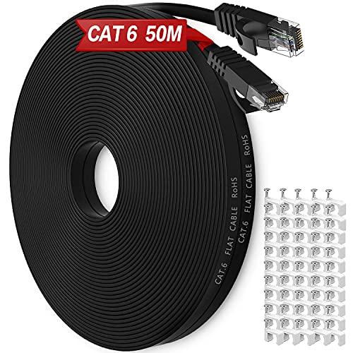 Cable Ethernet 50 Metros, Exterior Impermeable Al Aire Libre Cat6 Cable De...