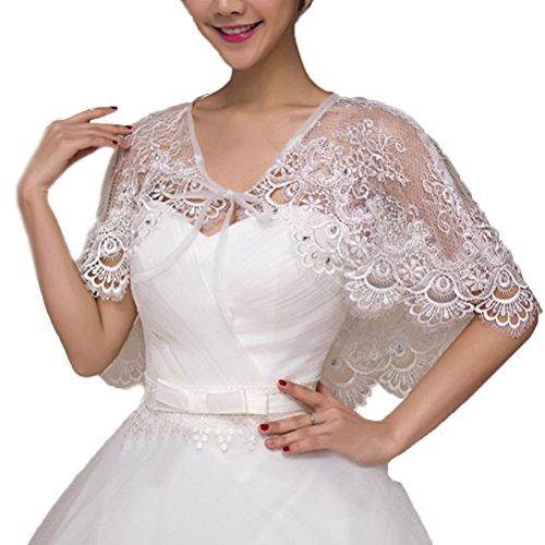 Vivivalue Lace Bride Cape Capelet Wrap Shrug Shawls Stole Boleros Rhinestone Wedding